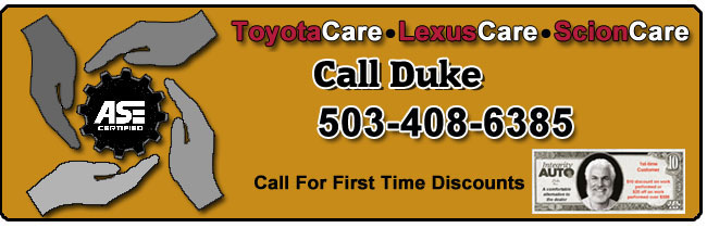 We work on Toyota vehicles exclusively. As ASE certified independent Toyota specialists, we provide a comfortable alternative to the Dealer. Your Toyotas will be serviced with an unusual level of personal concern and professionalism by specialists that service and repair Toyotas, Lexus, & Scions exclusively.