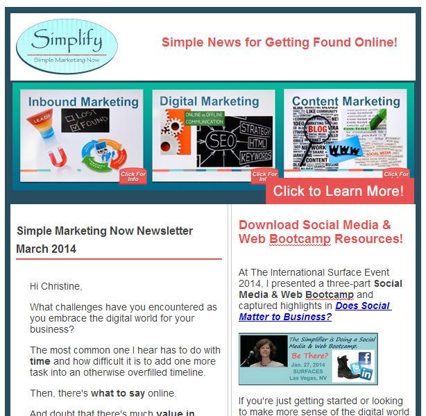 Simple Marketing Now Newsletter