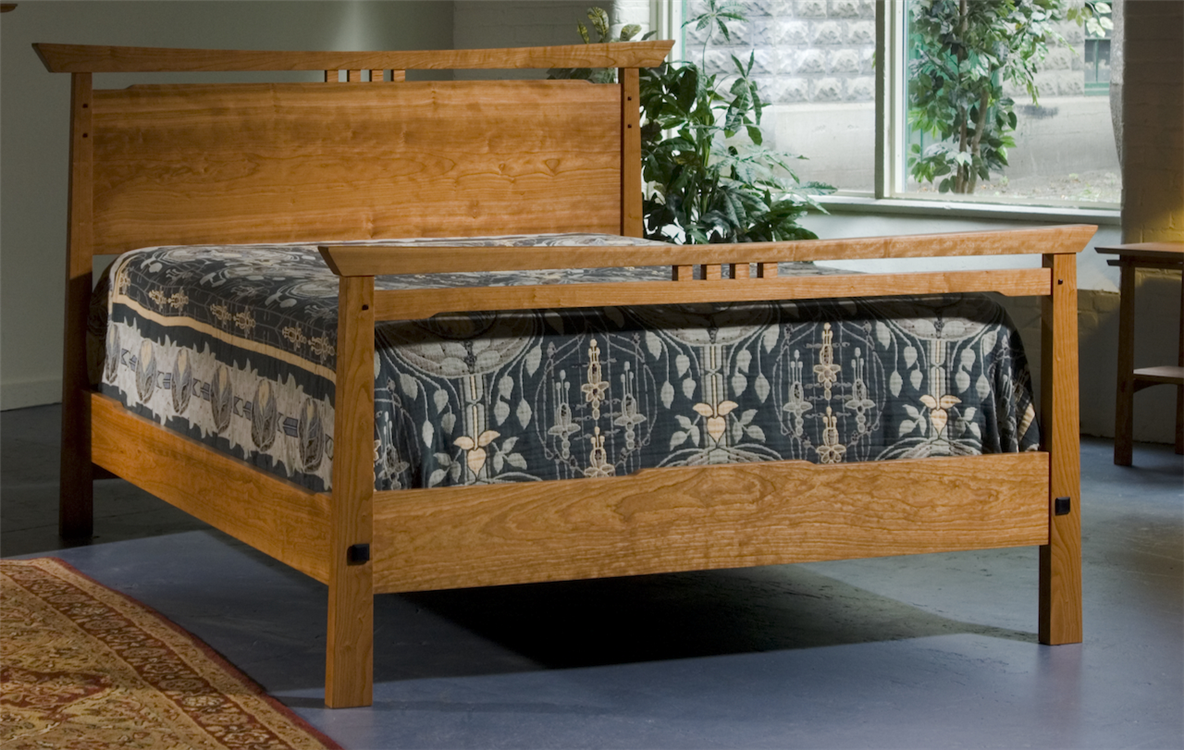 Asian inspired bed. Asian style handmade bedroom furniture New England furniture makers