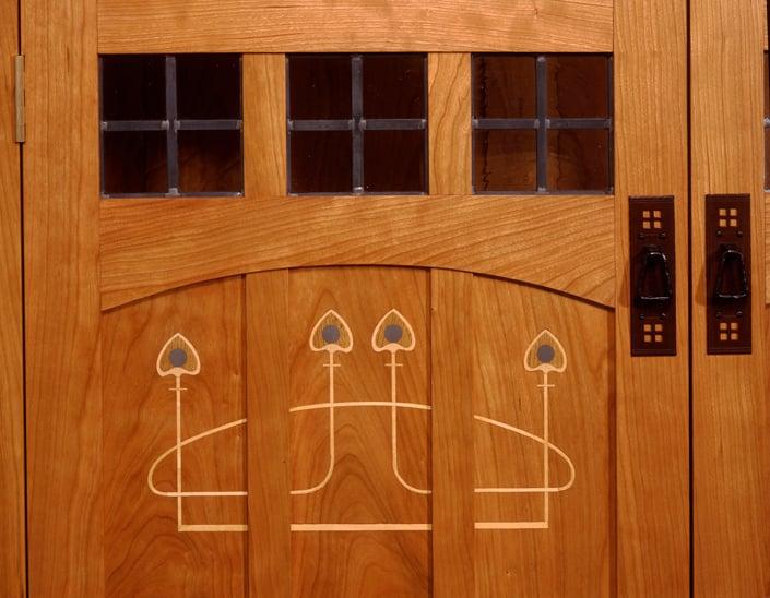custom Arts and Crafts furnitureMackintosh style inlaid doorsaudio – Arts and Crafts Bookcases