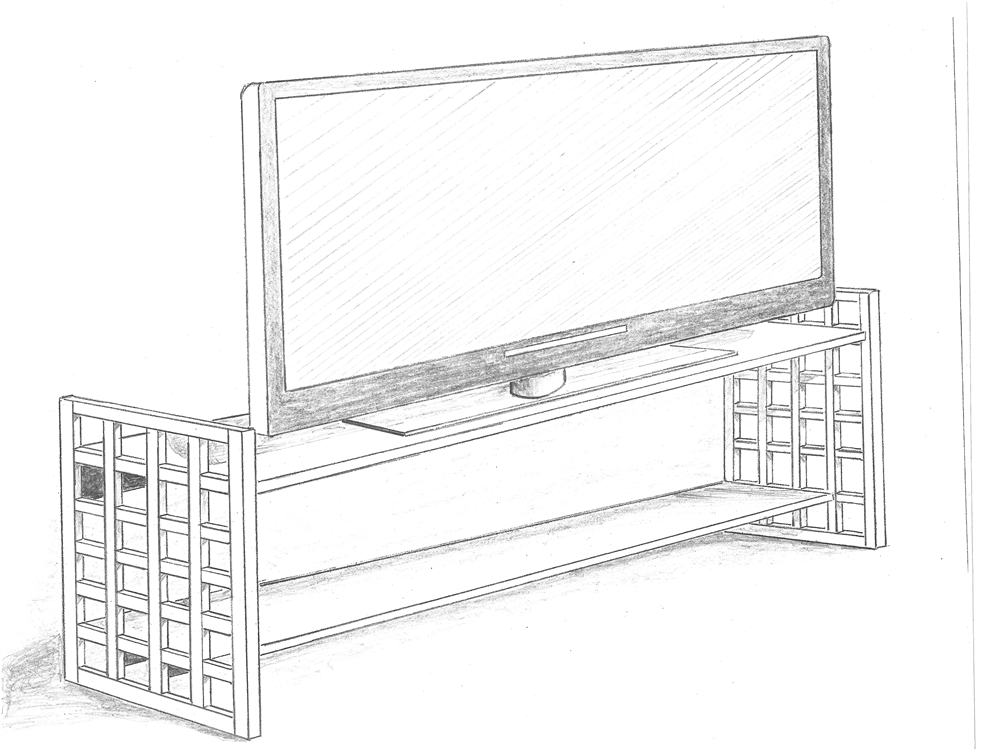 sketch of a grid work console table inspired by the designs of josef