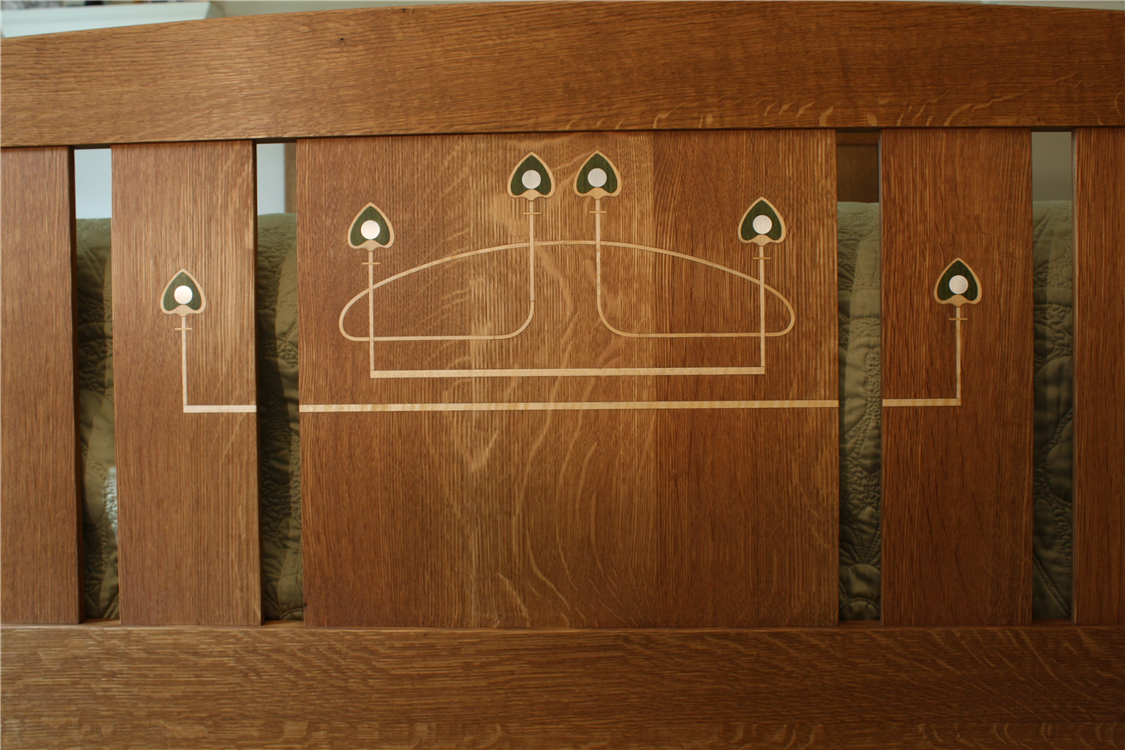 custom Arts and Crafts furniture|Mackintosh style inlaid bedroom