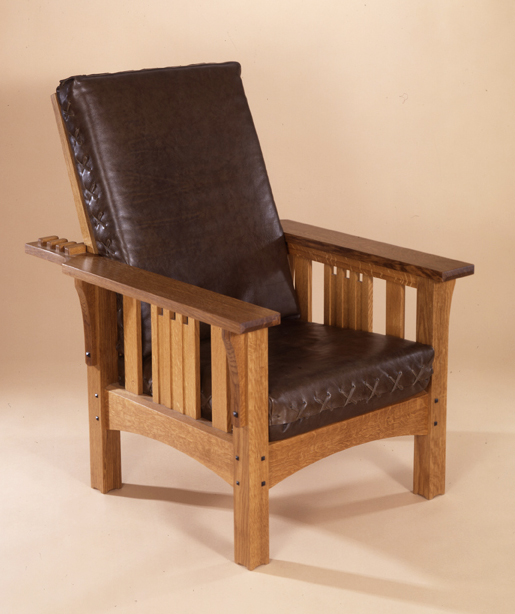 Morris Chair, Oak And Green Leather.