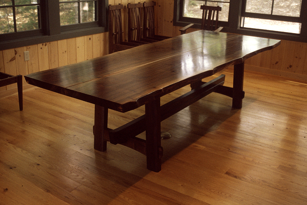 Nakashima inspired dining table. custom wood furniture Maine furniture makers fine furniture makers