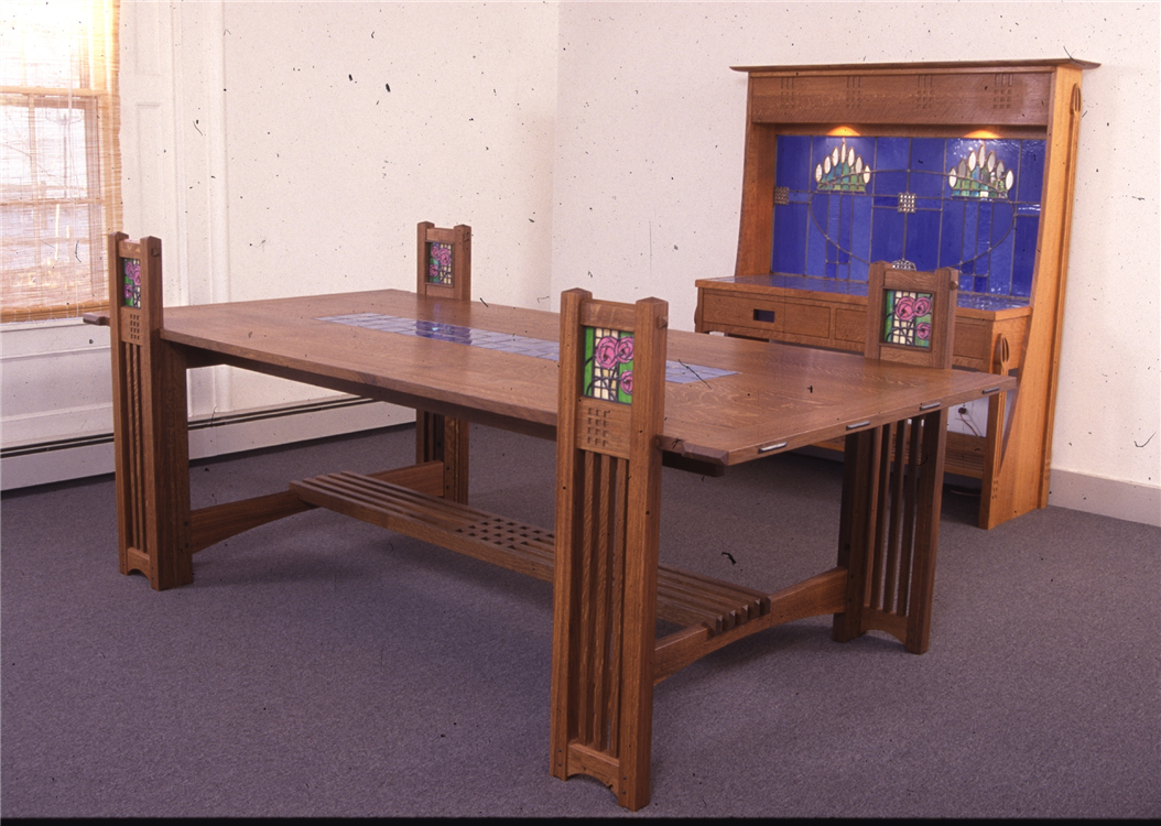 Custom made dining table f l wright mackintosh fine furniture for Custom dining tables