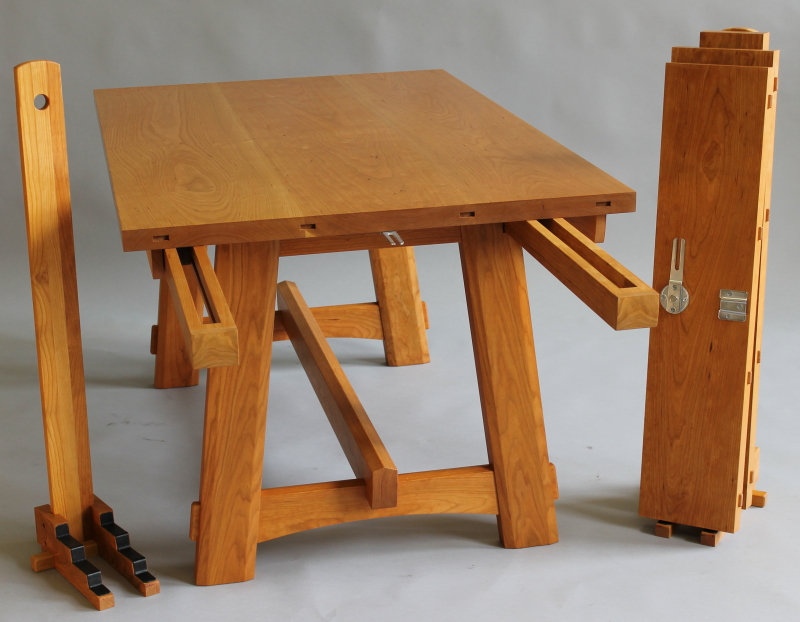 Cambridge Table Showing Extension Slides, Leaves And Leaf Stand.