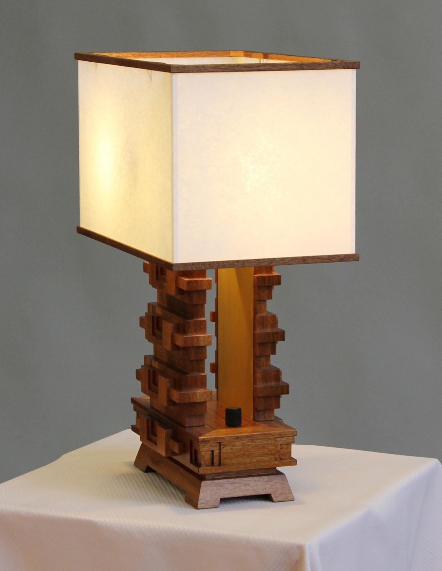 Mayan lampcustom made lightsmayan detailsimperial hotel mayan lamp mahogany base with geotapseo Choice Image