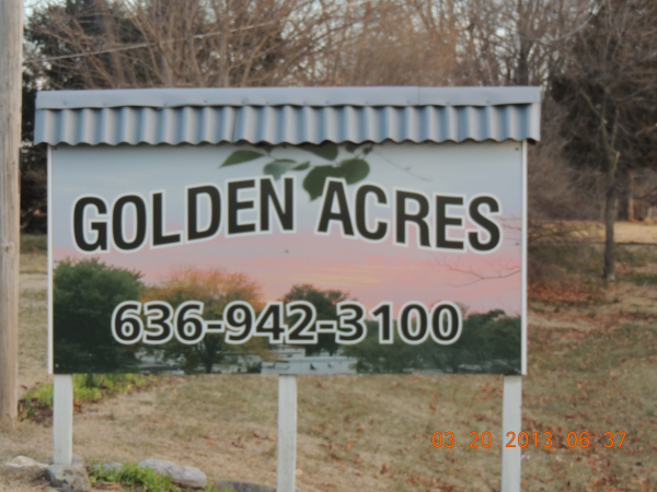 You are at the entrance of Golden Acres!
