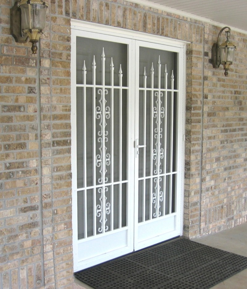 Security screen door with decorative bars