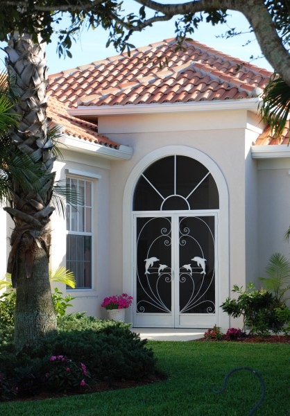 custom screen doors for a double door entrance with dolphins den2030001