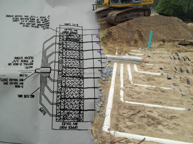 Infiltrator side by side comparsion of installation & design plan. Engineer was very inpressed by our installation & quality workmanship on this septic system installation. Straight rows & pipework all the way thru. Another first class quality job by A-Norton Septic Contracting.