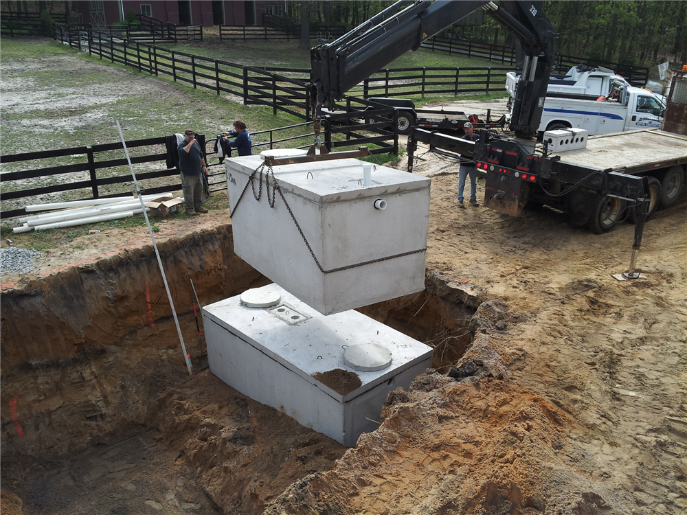 Pump Tank Installation-A 1500 gallon Pump Tank was installed. This tank to be connected to new Septic Tank & Infiltrator Quick 4 Chamber Disposal Bed.
