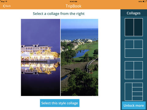 Tripbook collage screen shot