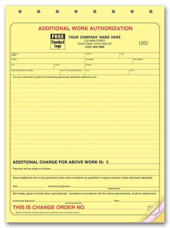Managing Change Orders On Remodeling Projects – Employment Authorization Form Example