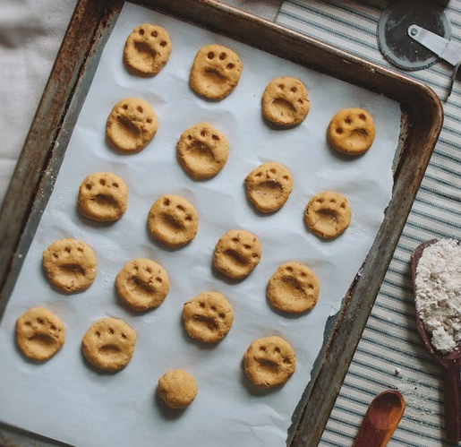 Dog cookies on a sheet
