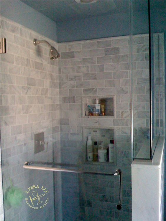 Carrara Marble Subway Tiles Used For Master Bathroom Shower DC