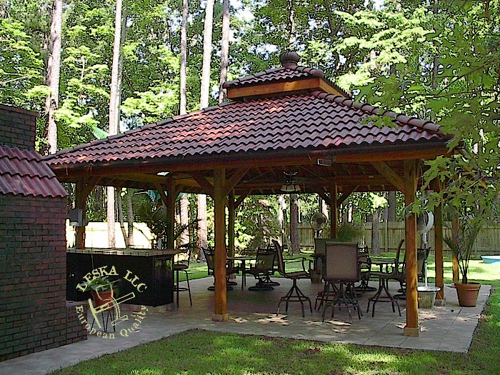 Synthetic Tile Roof On A Gazebo