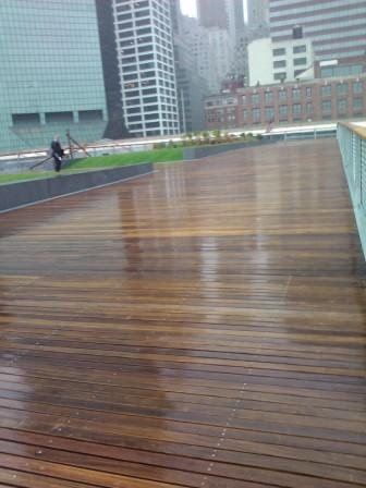 Cumaru decking, cumaru railing, cumaru ramps, cumaru stairs at Pier 15 in New York City