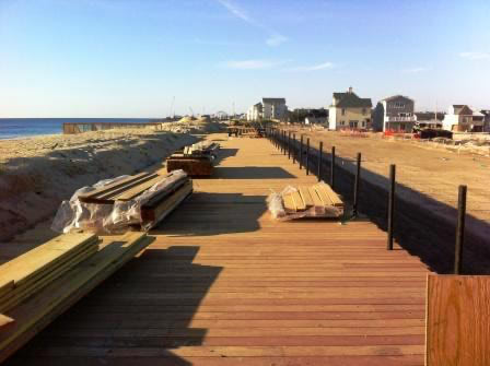 Garapa hardwood decking was selected for the Ortley Beach boardwalk to replace pine decking destroyed by Hurricane Sandy