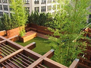 Ipe pergola, decking and Ipe planters on rooftop Ipe deck