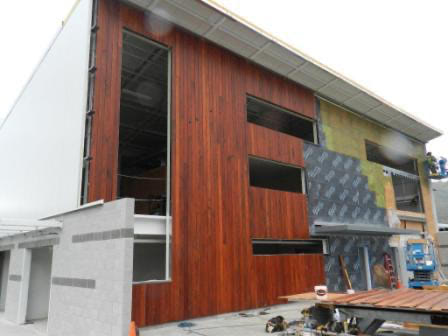 FSC certified Machiche hardwood used as vertical rainscreen cladding