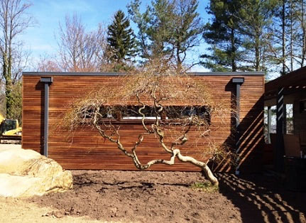 Ipe hardwood rain screen siding enhancing a beautiful landscape design.