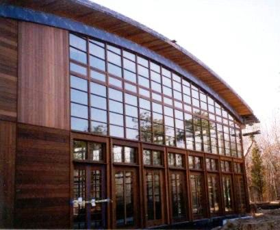 Ipe high density hardwood cladding used as horizontal and vertical rain screen siding, soffits, fascia and architectural millwork