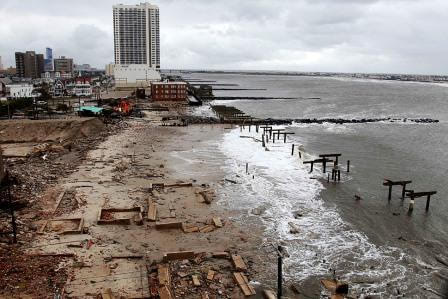 Atlantic City NJ boardwalk and building hit hard by storm
