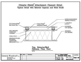Climate Shield Attachment Channel   Exterior gypsum and steel stud wall assembly