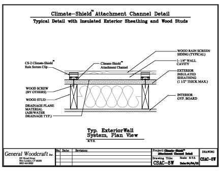 Climate-Shield Attachment Channel - Exterior insulated sheathing and wood stud wall assembly