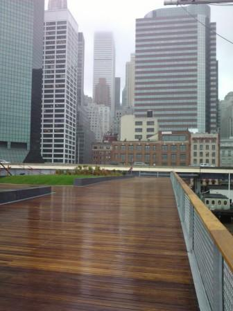 Cumaru decking and Cumaru handrail at Esplanade at Pier 15