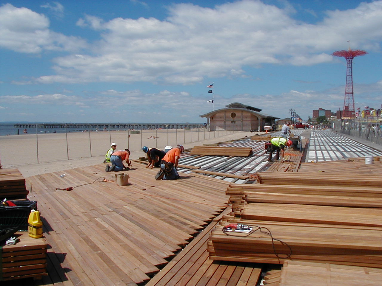 Cumaru dimensional lumber being used as decking on the Coney Island Boardwalk