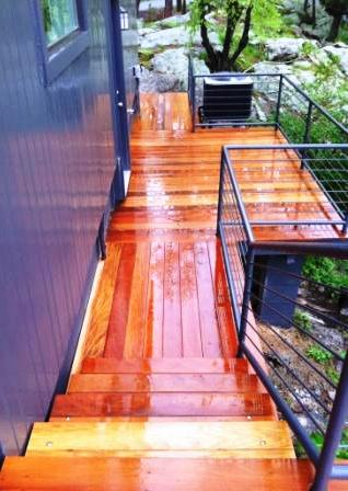 Garapa Stairs and Garapa hardwood deck with custom rail system