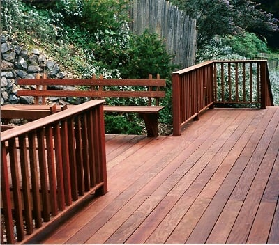 Ipe deck with Ipe railing system and built in Ipe benches