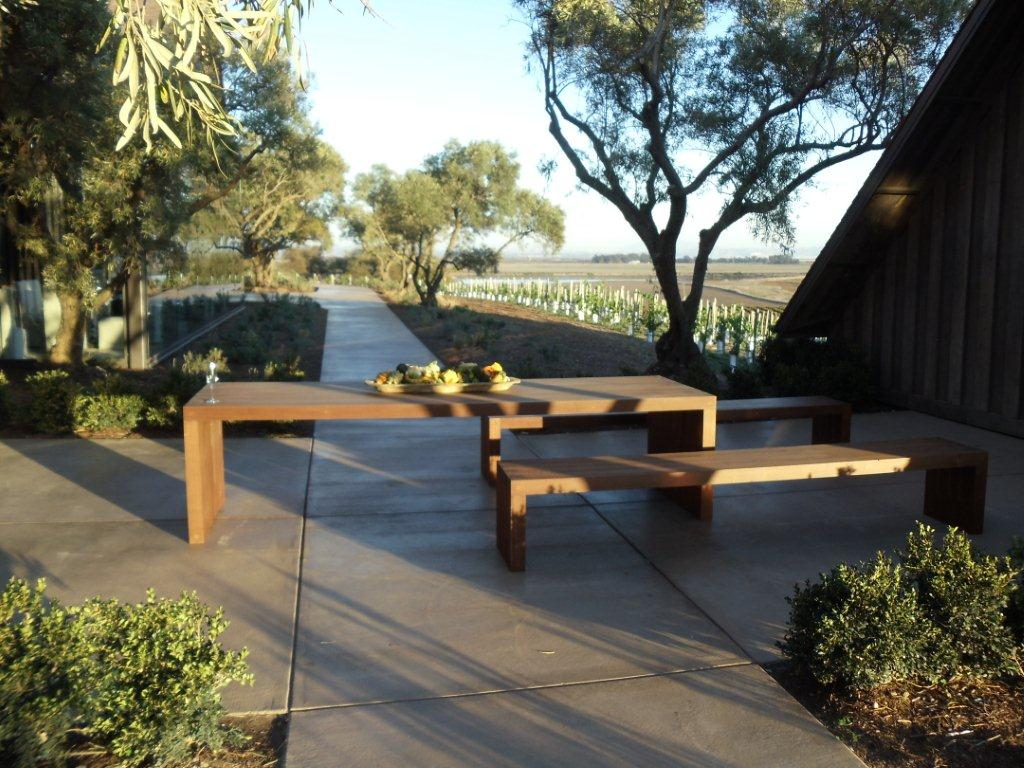 Ipe outdoor table and Ipe benches at Rams Gate Winery in Sonoma