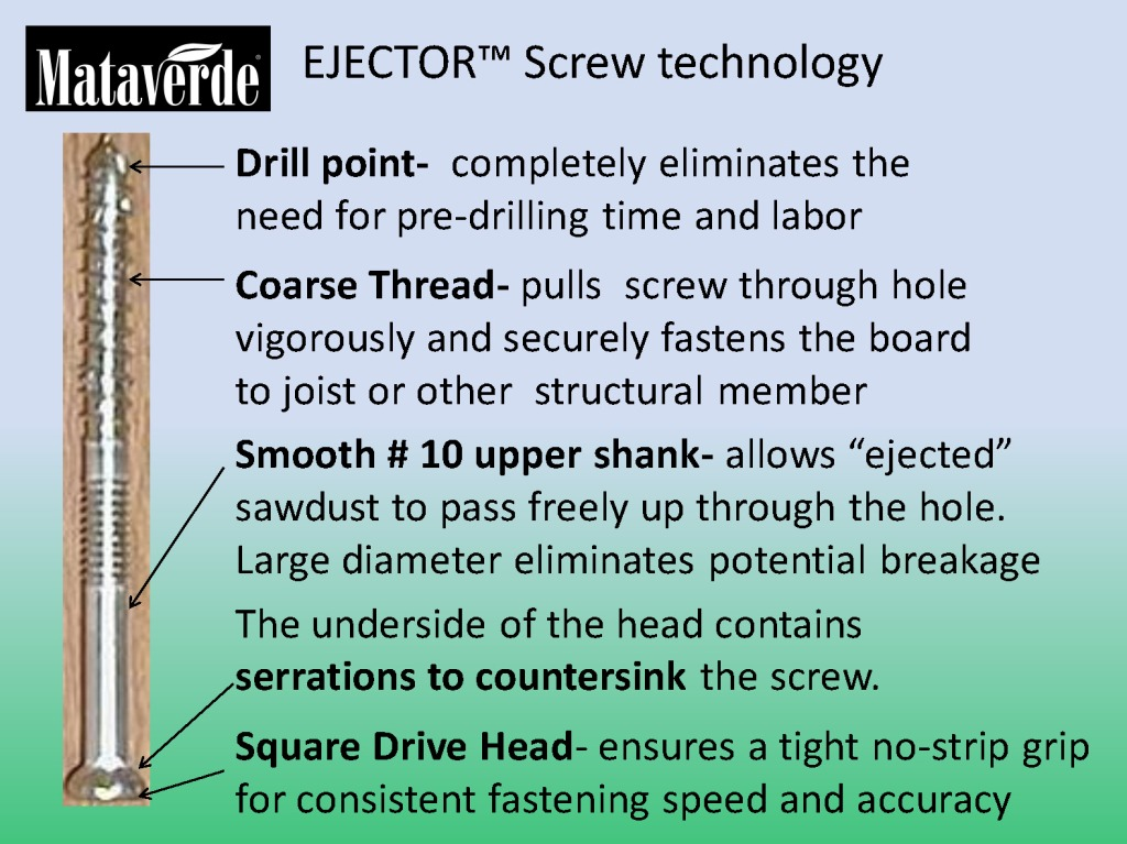 The Ejector Screw has revolutionized Ipe deck fastening and saves time and money on Ipe deck installations