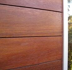 Climate-Shield rain screen siding system using high density hardwood siding material