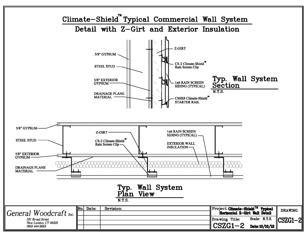 Architecual Details for climate-Shield Rain Screen using exterior insulation (typical)