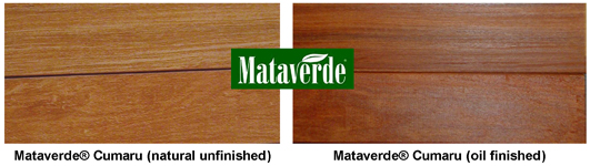 Mataverde cumaru decking- natural and rosewood oil finish