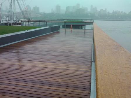 Cumaru lumber, cumaru decking and cumaru railing at South Street Seaport, NYC