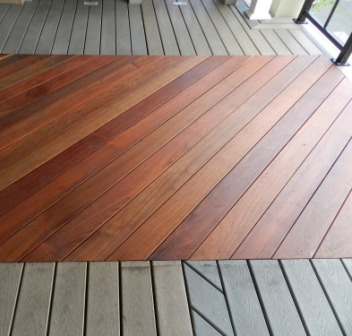 FSC Machiche decking side by side with plastic and composite lumber