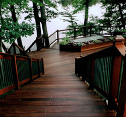 Ipe deck and Ipe stairs with custom Ipe deck railing system