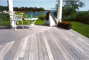 Ipe decking weathered to a natural silver patina