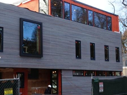 ipe hardwood siding finished with Seal-Once Cape Cod gray sealer