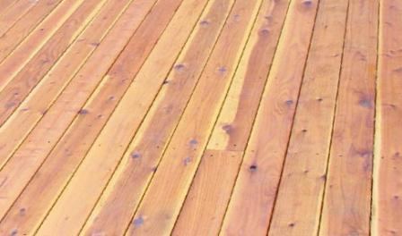 redwood decking with knots and sapwood