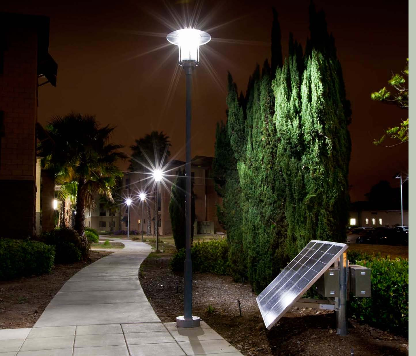 Sepco completes led solar walkway lighting project at usmc for Electric walkway lights