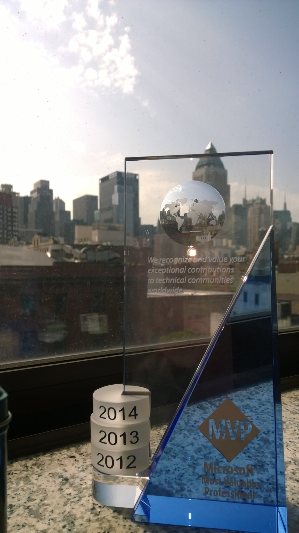 Microsoft Dynamics GP Most Valuable Professional (MVP) trophy for Belinda Allen of Smith & Allen Consulting in New York, NY.