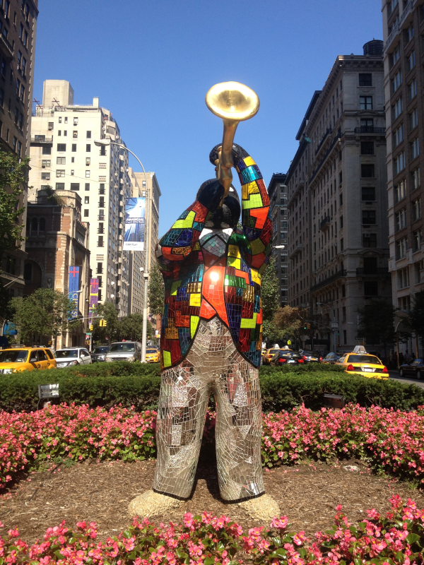 Niki de Saint Phalle sculpture of Louis Armstrong, on display on Park Avenue in New York City.