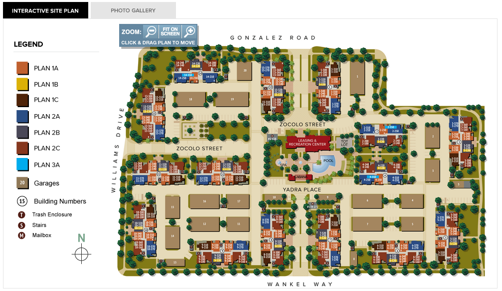 The artisan apartments interactive site plan is now live for Apartment site plan