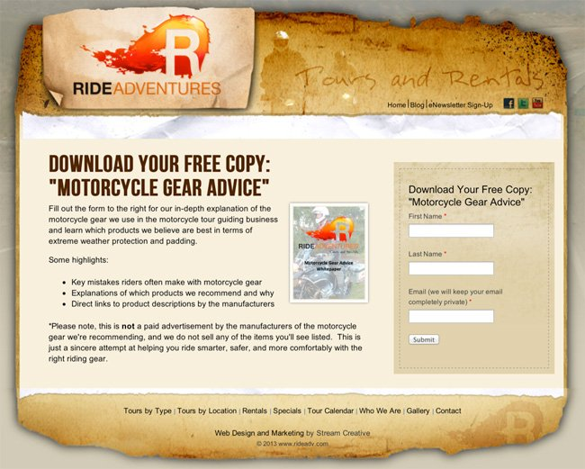 ride adventure results landing page